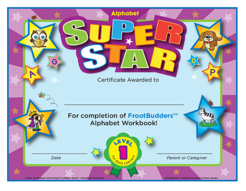 Super Star FrootBudders™ Alphabet Level 1 Certificate