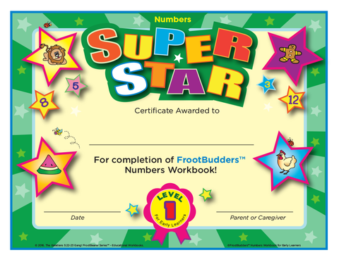 Super Star FrootBudders™ Numbers Level 1 Certificate