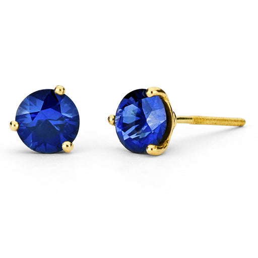 Three Prong Yellow Gold Studs
