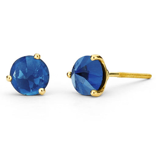 Inverted Three Prong Yellow Gold Studs