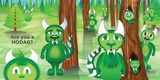 A colorful illustration of ten hodag's from the book HODAG, a happy the hodag book