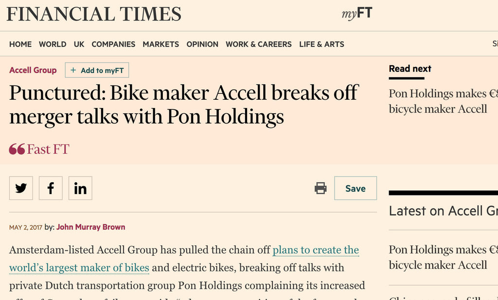 Dutch bike group Accell break off merger talks with Dutch bike group Pon Holdings