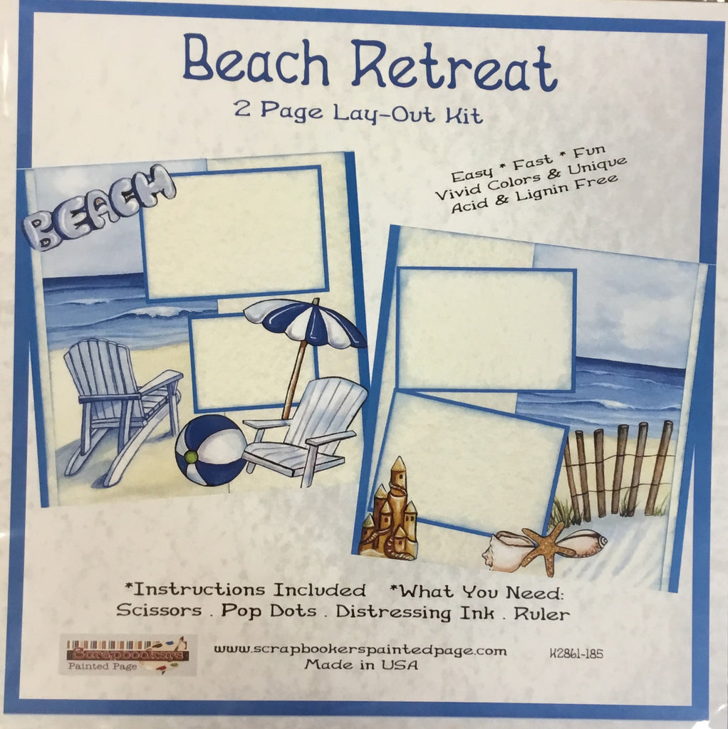 12x12 2 page layout kit Beach Retreat