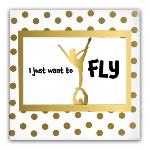 I want to Fly Cheer Square 2 inch Pin-Back Buttons