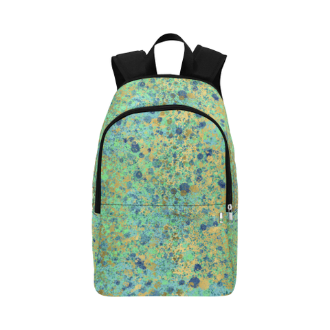 Women's Blues and Gold Patina Design Backpack Fabric Backpack for Adult (Model 1659)