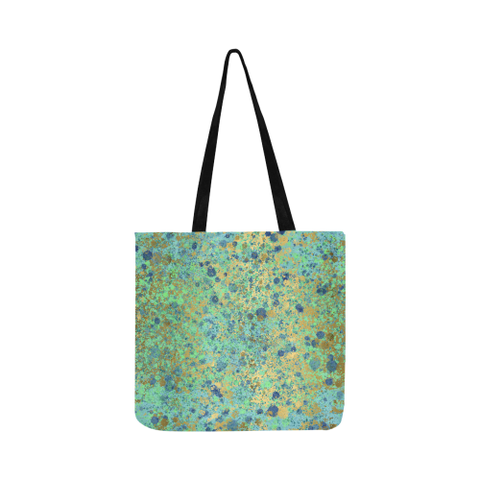 Women's Blues and Gold Patina Design Grocery Bag Reusable Shopping Bag  (Two sides)