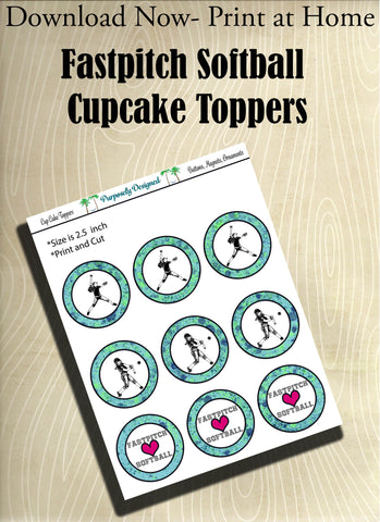 Fastpitch Silhouette Printable Party Tags - Cupcake Toppers - Printable Party Favors