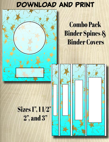 Gradients and Gold Stars - Style 44- Binder and Spine Collection**Not Editable**