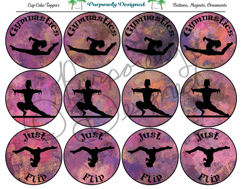 Gymnastics Pastel Chalk 7  Silhouette Printable Party Tags - Cupcake Toppers - Printable Party Favors