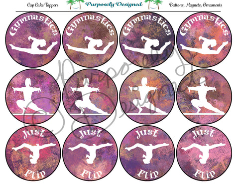 Gymnastics Pastel Chalk 8  Silhouette Printable Party Tags - Cupcake Toppers - Printable Party Favors