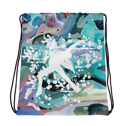 Figure Skater in White on Abstract Background- All-Over Print Drawstring Bag
