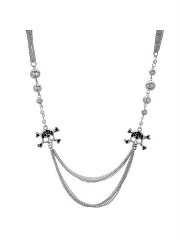 Black Crystal Skull and Crossbones Multi Strand Necklace (Available in a pack of 4)