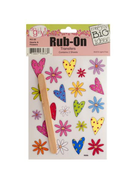 Hearts and Flowers Rub-On Transfers (Available in a pack of 24)