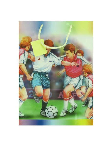 Sports themed gift bags, assorted designs, large size (Available in a pack of 24)