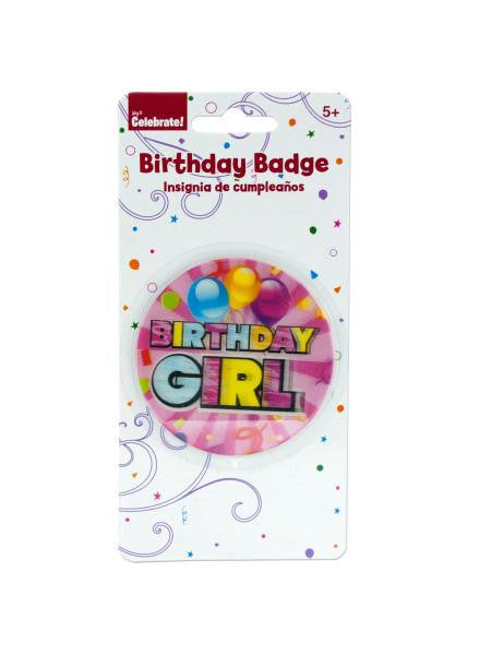 Holographic Girl Birthday Badge (Available in a pack of 24)