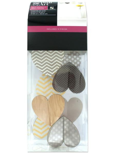 Patterned Hearts Self-Adhesive 3D Wall Art Kit (Available in a pack of 4)