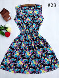HOT! 2016 new 20 Styles Women casual Bohemian floral leopard sleeveless vest printed beach chiffon dress nz17