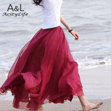 2016 summer Women Amazing Chiffon Maxi Long Skirt Fashion Hot Sales Bohemian Skirt 7Colors 67
