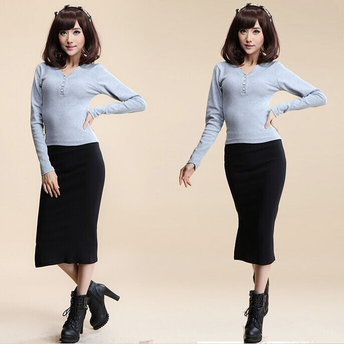 2016 Autumn Winter Women Skirt Wool Rib Knit Long Skirt Faldas Package Hip Split Skirts  A919