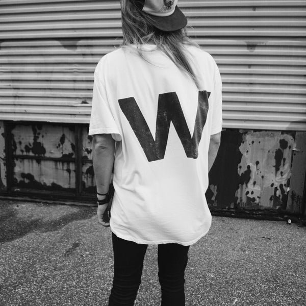 W | Oversized Washed White Tee | 100% Organic | Unisex