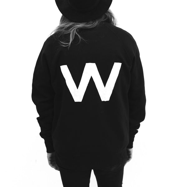 W | Oversized Washed Black Sweatshirt | 100% Organic | Unisex