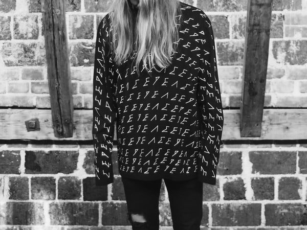 Peace Long Sleeve | Black | 100% Hand-drawn | 100% Organic