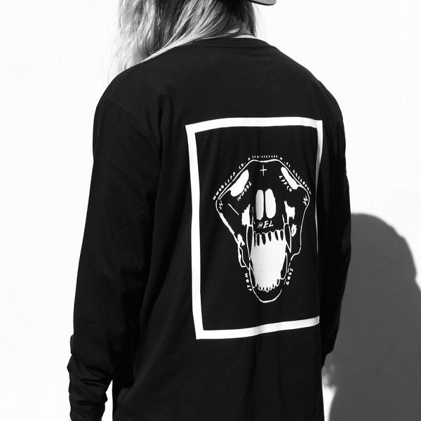 Wolf Skull Long Sleeve | Black | Oversized | 100% Organic