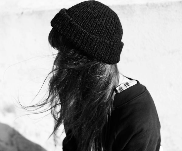 Black Wool Beanie | 100% Handmade in Finland