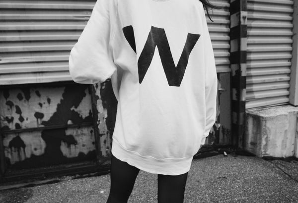 W | Oversized Washed White Sweatshirt | 100% Organic | Unisex