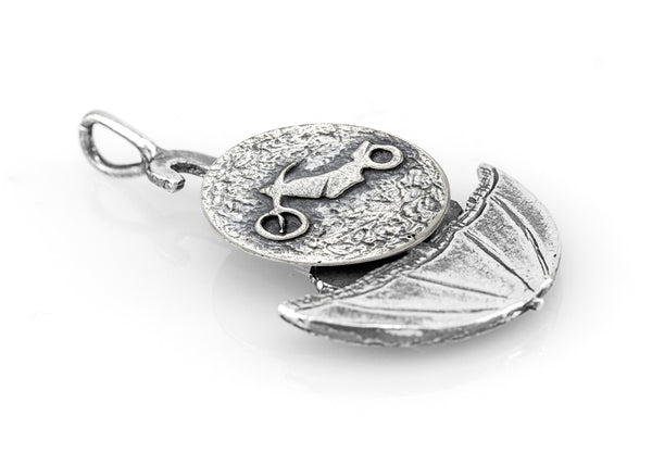 Motorbike Adventure Umbrella Medallion of Israel Necklace