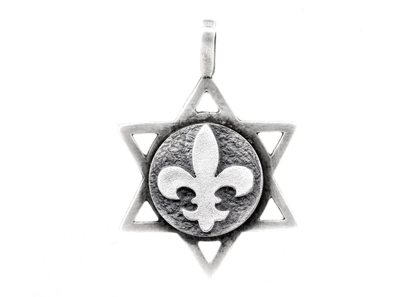 Star of David with White Lily Medallion
