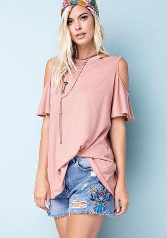 Cold Shoulder Tee - Nickel and Birch