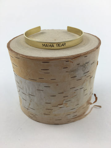 MAMA BEAR Stamped Brass Cuff - Nickel and Birch