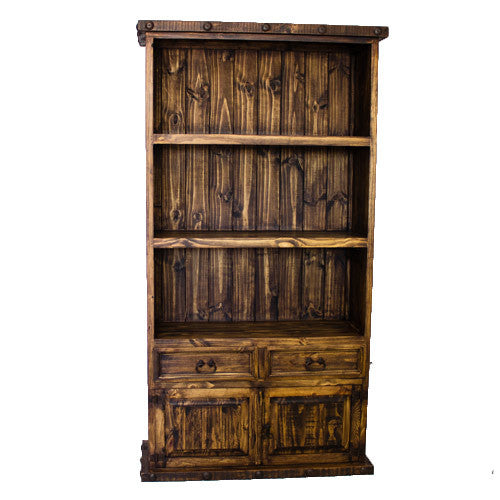 Rustic 2 Door 2 Drawer Bookcase