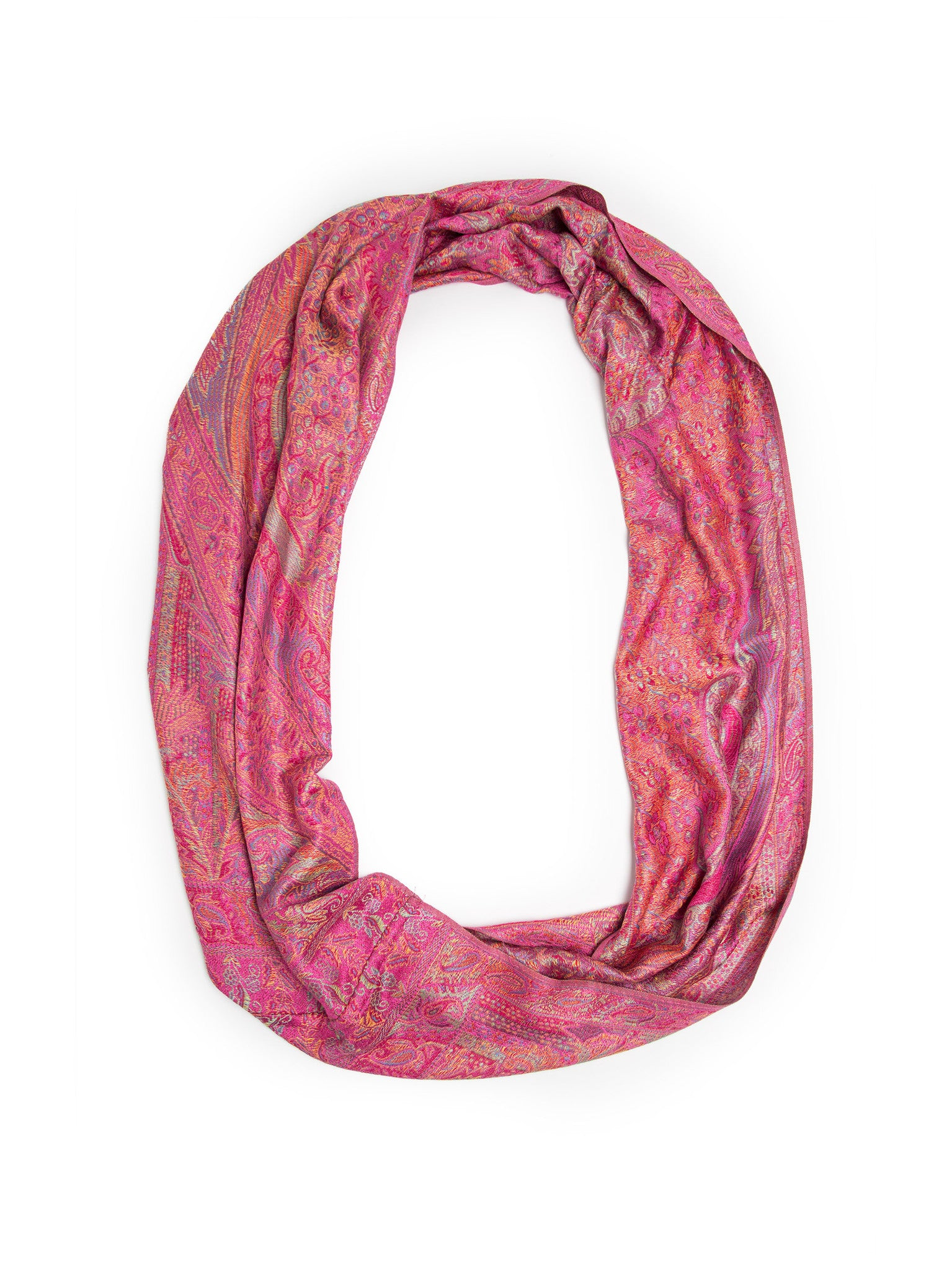 Scarves - Rajana Infinity Scarf, Richly Colored Rare Pashmina Infinity, -(Hot Pink / One Size) Bohomonde  - 26
