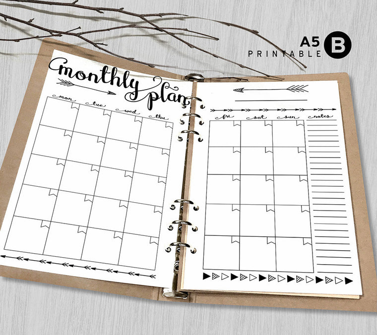 Printable Arrows A5 Weekly Planner Inserts, A5 Binder