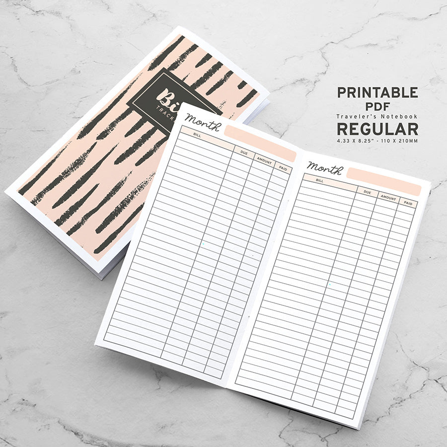 Printable Traveler's Notebook Bills Tracker Insert - Regular TN