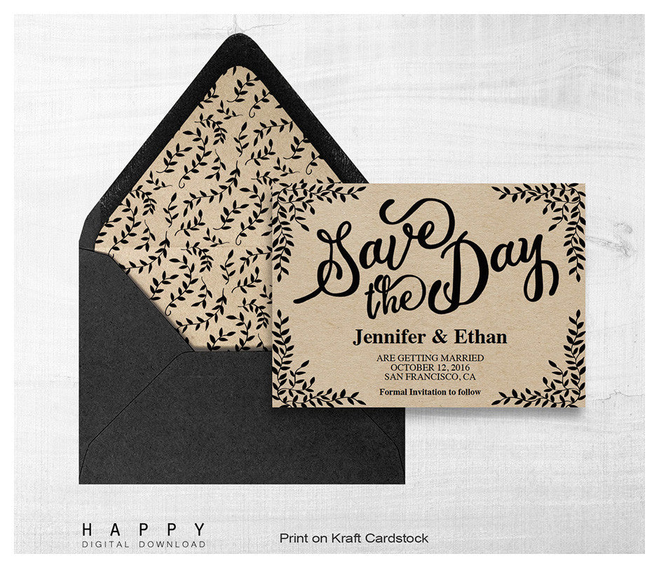 Rustic Leaves - Save the date template