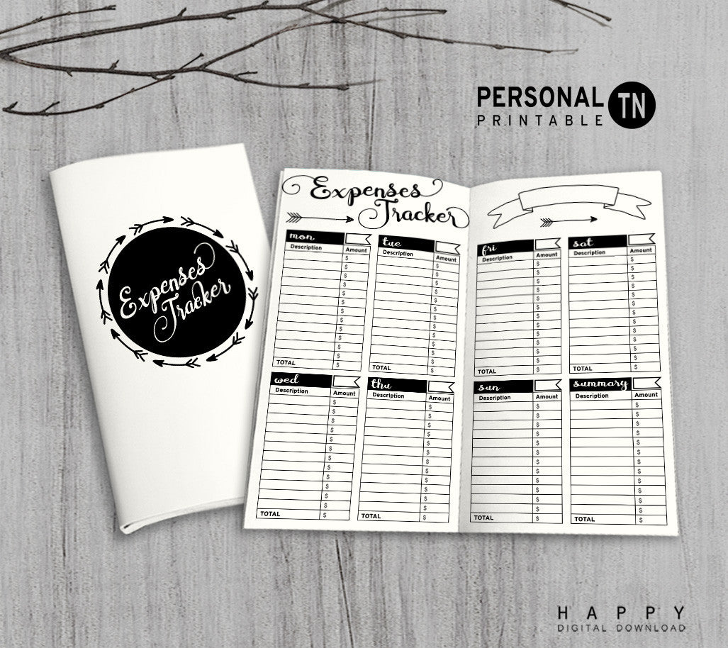 Printable Traveler's Notebook Expenses Tracker Insert - Personal TN - Arrow