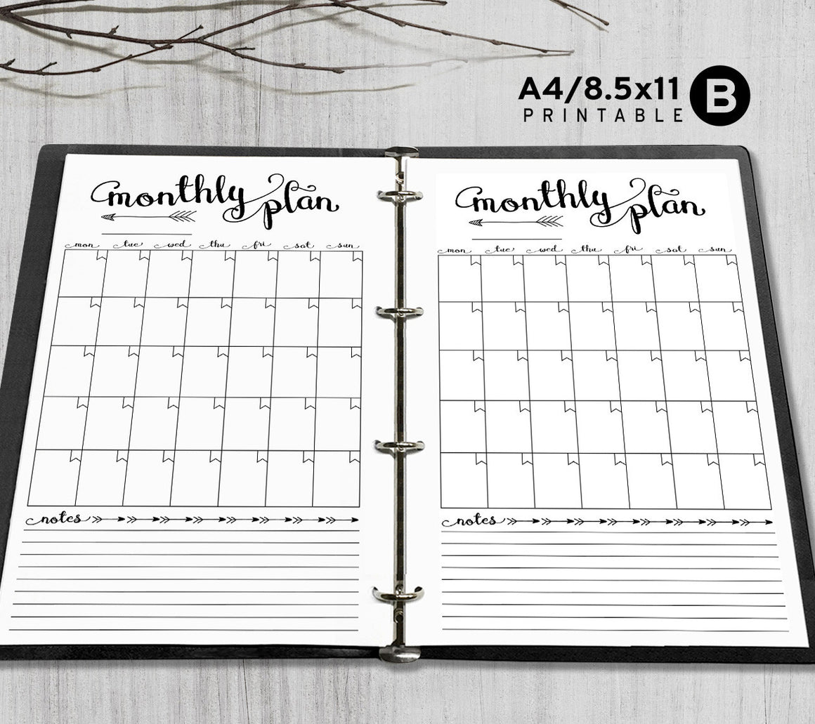 Printable A4, Letter Monthly Planner Inserts, A4 / Letter Binder - Arrow