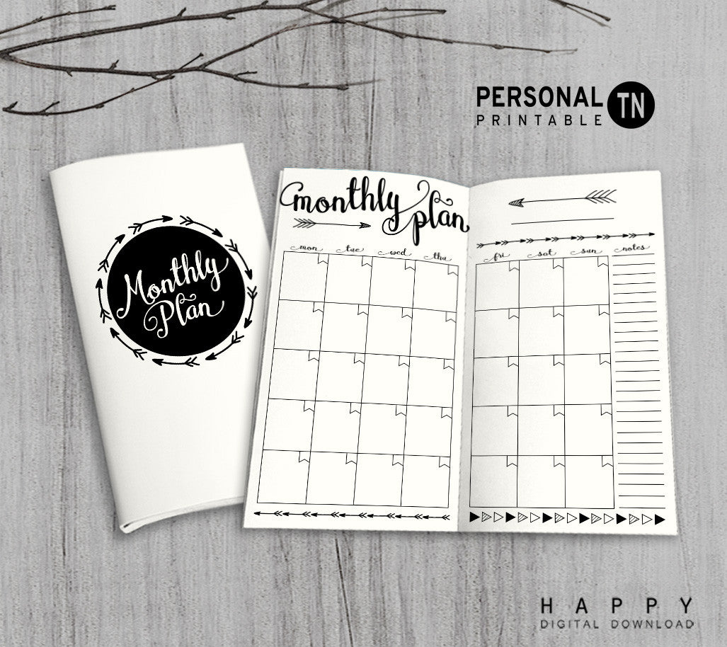 Printable Traveler's Notebook Monthly Insert - Personal TN - Arrow