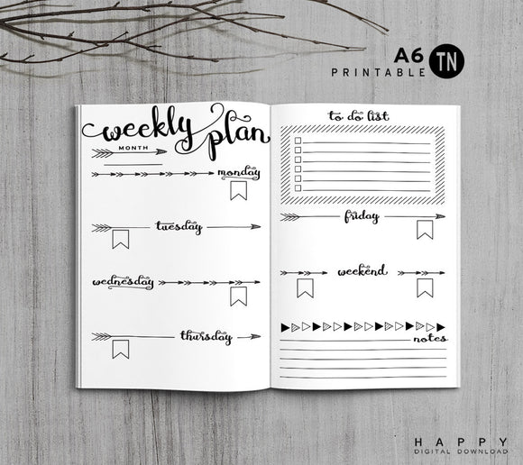 Printable Traveler's Notebook Weekly Insert - A6 TN - Arrow