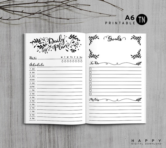 Printable Traveler's Notebook Daily Insert - A6 TN - Leaves