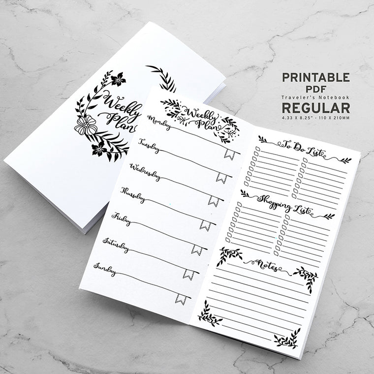 Printable Traveler's Notebook Weekly Insert - Regular TN