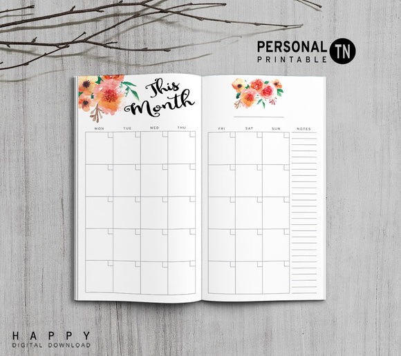 Printable Traveler's Notebook Monthly Insert - Personal TN - Flower