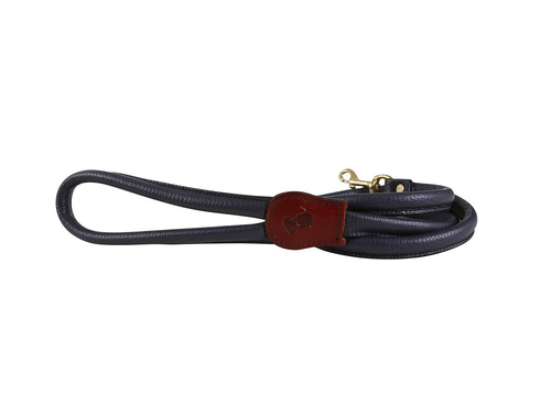 'The Hattie' Rolled Midnight Navy Leather Dog Leash