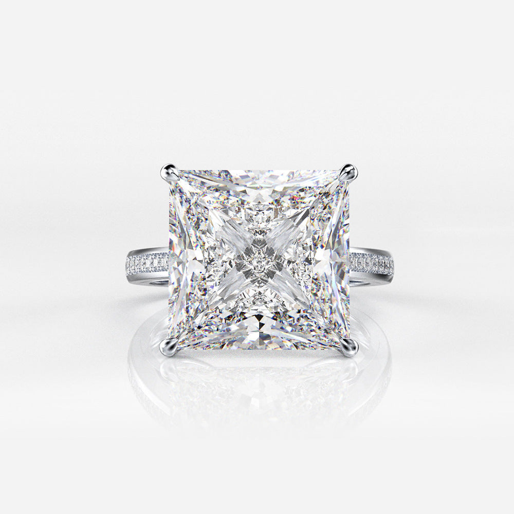 Classic Square Minimalist Zircon 925 Sterling Silver Engagement Ring