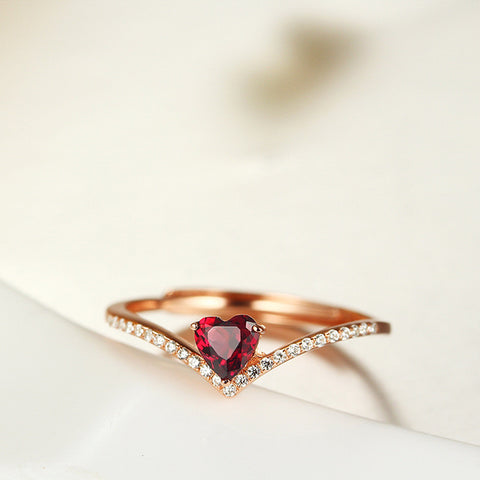 Wave Pattern with Red Heart-shaped Gem 925 Sterling Silver Ring