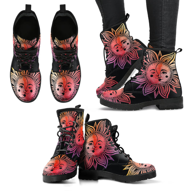 Watercolor Sun Moon Mandala Women's Leather Boots