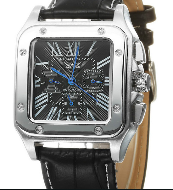 Jaragar Mechanical Automatic Rectangle Real Leather Strap Dress Wristwatches!